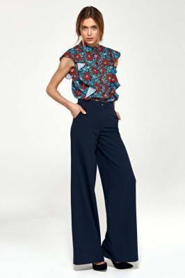 Granatowe Eleganckie Spodnie Typu Plazzo