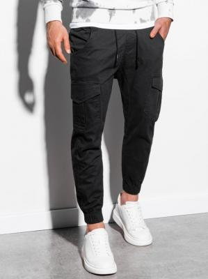 Spodnie męskie joggery P886 - czarne - S