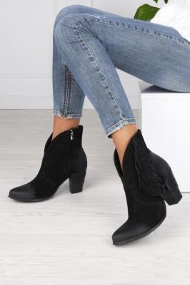 Czarne botki kowbojki z frędzlami polska skóra Exquisite 1196