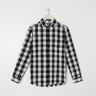 Sinsay - Koszula w kratę regular fit - Czarny