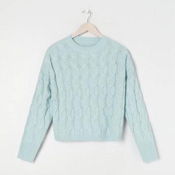 Sinsay - Sweter w warkoczowy splot - Zielony