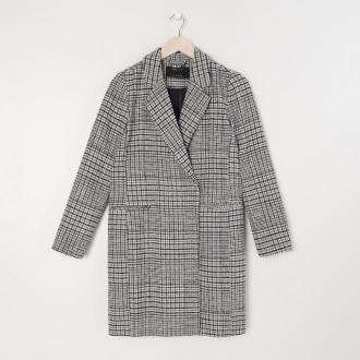 Sinsay - Płaszcz w kratę - Czarny