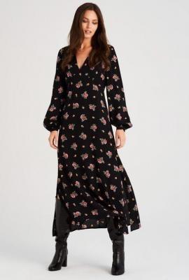 Sukienka midi z rozcięciem