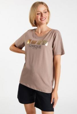 T-shirt z napisem i cekinami
