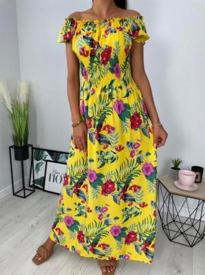 Żółta Hiszpanka w Kolorowe Kwiaty 6327-511-E