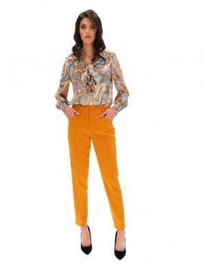 Klasyczne musztardowe spodnie w kant z wysokim stanem L`AF COLET