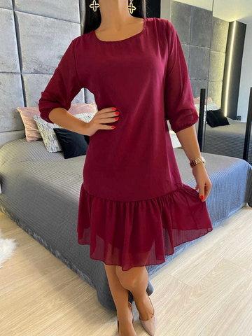 Bordowa Sukienka z Falbanką 6721-507-B