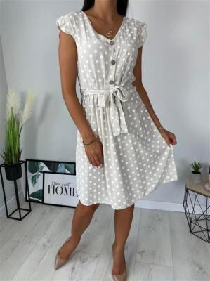 Kremowa Sukienka w Grochy 6192-120-C