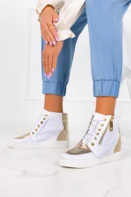 Białe sneakersy Casu na ukrytym koturnie polska skóra 2351