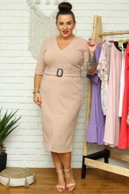 Sukienka elegancka ołówkowa z paskiem SAMANTA beżowa