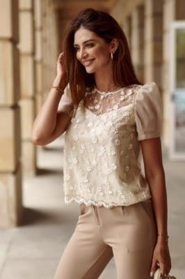 Damska bluzka z krótkimi rękawami beżowa 4580