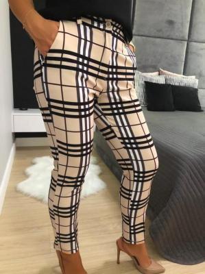 Beżowe Spodnie w Kratę 5585-03-A