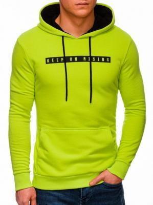 Bluza męska z kapturem 1321B - limonkowa - XXL