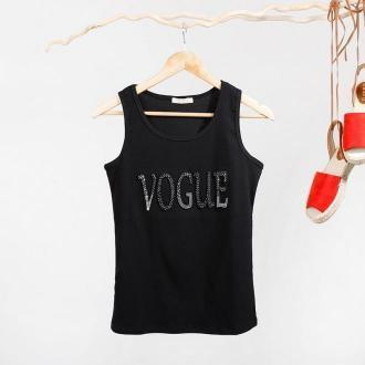 Czarny damski top na ramiączkach z napisem zdobionym cyrkoniami - Odzież