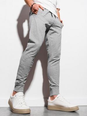 Spodnie męskie dresowe joggery P952 - szare melanż - XXL