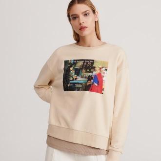 Reserved - Bluza z nadrukiem Friends - Kremowy