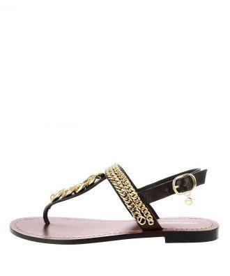 Ciemnobrązowe sandały ze skóry licowej ze złotymi łańcuszkami VERRAND