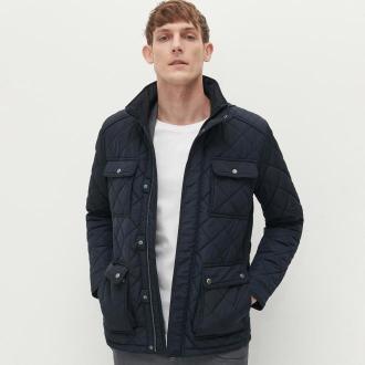 Reserved - Pikowana kurtka z kieszeniami - Granatowy