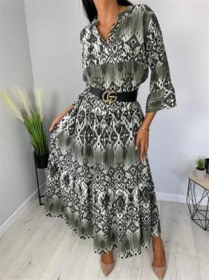 Zielona Wzorzysta Sukienka Maxi 6532-93-C