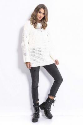 Ecru Stylowy Luźny Sweter z Frędzlami