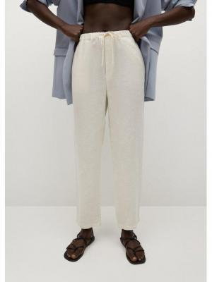 Mango Spodnie materiałowe Linen 87047878 Biały Regular Fit