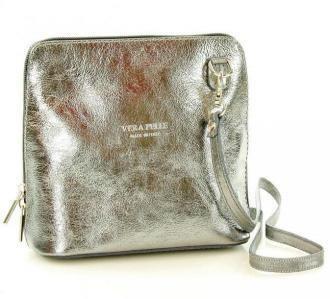Llistonoszka skórzana torebka MAZZINI - Foggia Lux srebrna