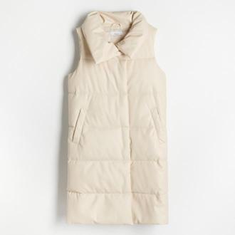 Reserved - Pikowana kamizelka ze sztucznej skóry - Kremowy