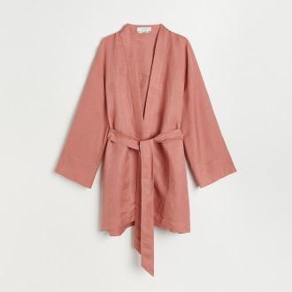 Reserved - Kimono z lnem - Różowy