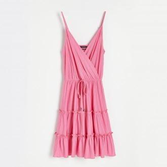 Reserved - Sukienka z kopertowym dekoltem - Różowy