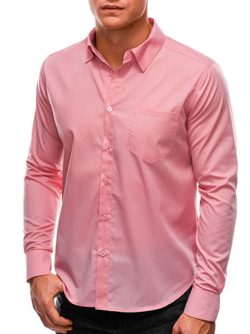 Koszula męska z długim rękawem 597K - jasnoróżowa - M