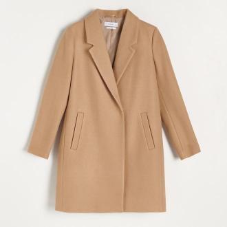 Reserved - Pudełkowy płaszcz z domieszką wełny - Beżowy