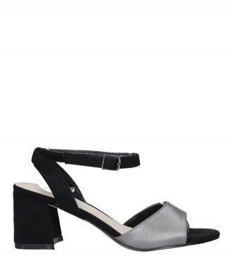 Czarne sandały na szerokim obcasie
