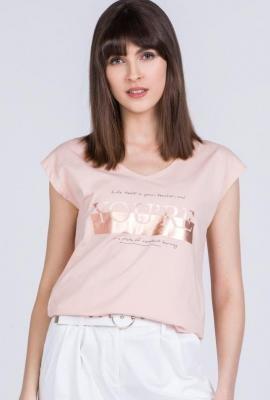 T-shirt z błyszczącym napisem