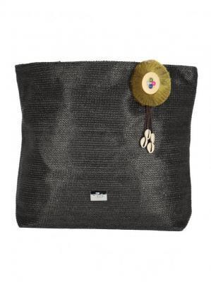 Czarna pleciona torebka z aplikacją Verde