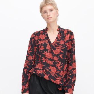 Reserved - Bluzka oversize w kwiaty - Czarny