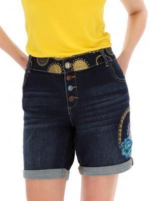 Jeansowe szorty z ozdobnym pasem Desigual MARGARITA