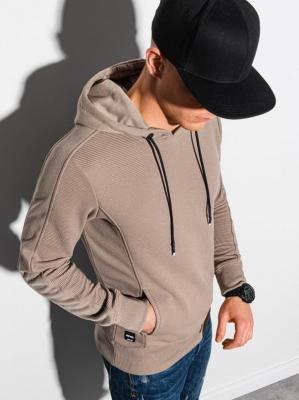 Bluza męska z kapturem B1155 - beżowa - XXL