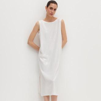 Reserved - Sukienka z cekinami - Kremowy