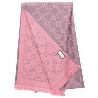Gucci Szalik wełniany 3G200 różowy szary