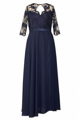 Granatowa długa sukienka z koronką (asymetryczny dół) - megan 52