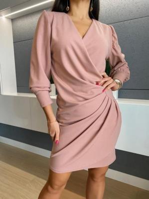Pudrowa Kopertowa Sukienka 5374-419-C