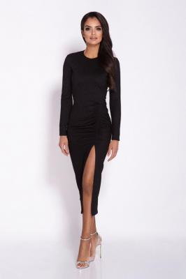 Czarna Ołówkowa Midi Sukienka z Drapowaniem