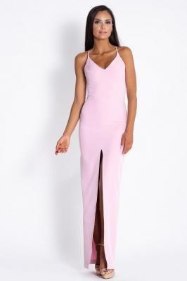Różowa  Elegancka Maxi Sukienka na cienkich Ramiączkach