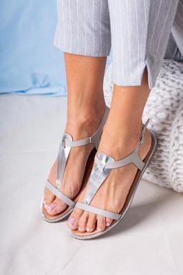 Szare sandały japonki płaskie