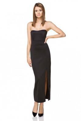 Czarna Gorsetowa Dopasowana Sukienka Midi