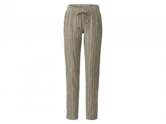 ESMARA®  Spodnie damskie z lnem, 1 para (40, Paski/zielony/biały)