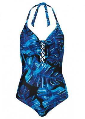 Kostium kąpielowy bonprix czarno-niebieski z nadrukiem