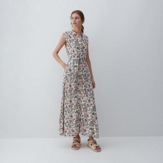 Reserved - Wzorzysta sukienka z wiskozy - Khaki