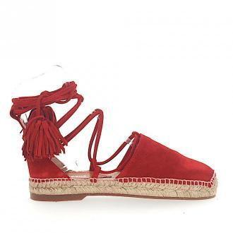 Dsquared2 Espandryle Sandały FLAT zamsz czerwone rzymskie sznurowanie