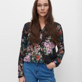 Reserved - Lekka koszula w kwiaty - Czarny